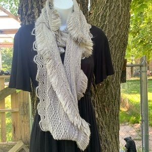 Infinity Scarf Gray Cable Knit Patterns Fringe